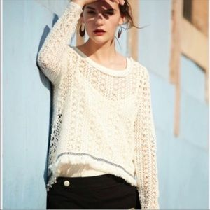 Anthro Akemi + Kin Franja Fringe Open Knit Sweater